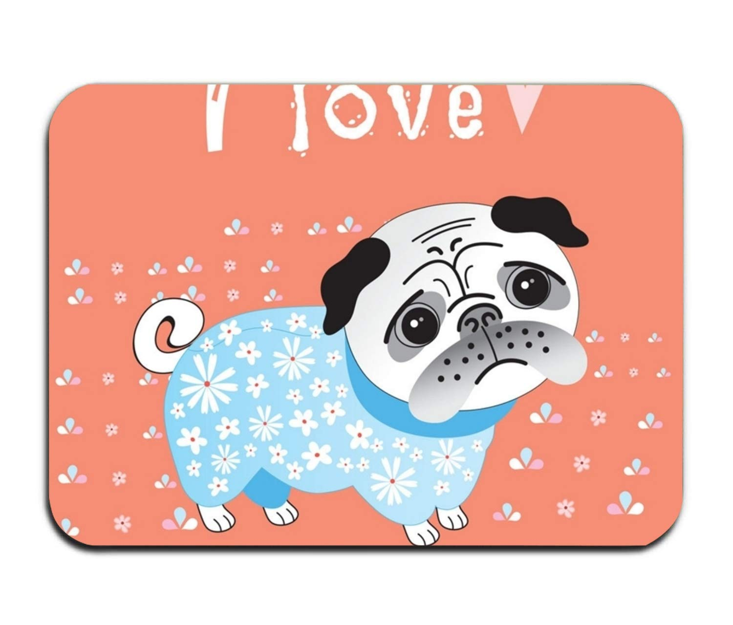 yyoungsell Cotton I Love Pug Entrance Rug 16''x 24'' Shoes Scraper Machine Washable Carpet Brownish Tan by yyoungsell (Image #1)