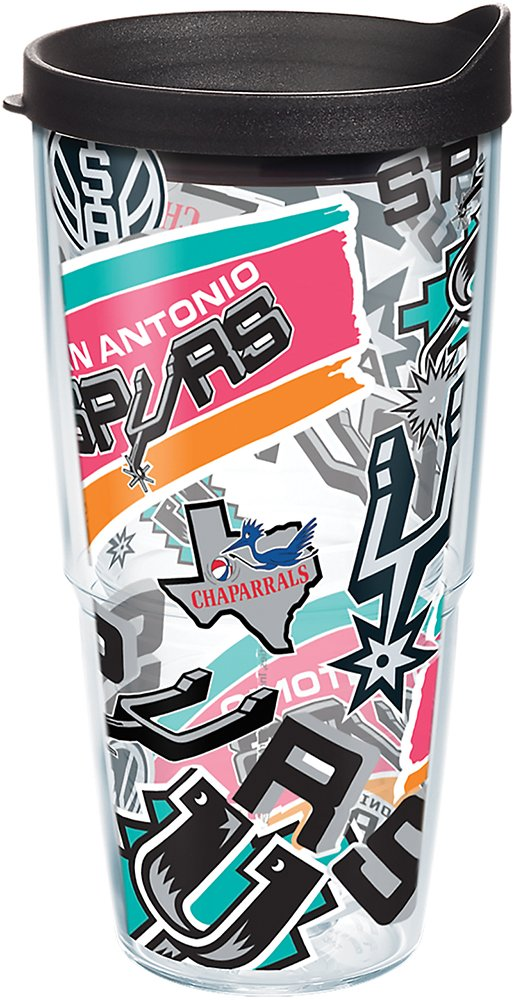 Tervis 1265878 NBA San Antonio Spurs All Over Tumbler with Wrap and Black Lid 24oz, Clear by Tervis
