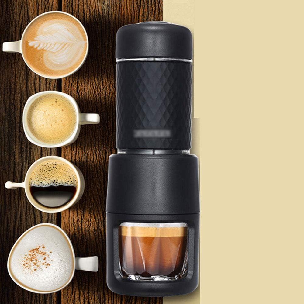 LSX - Molinillo de café Cafetera - Mini cápsula de Mano Multifuncional Cafetera al Aire Libre Máquina de Capuchino para café expreso Manual portátil - Polvo/Verde/Negro Manual (Color : Black): Amazon.es: Hogar