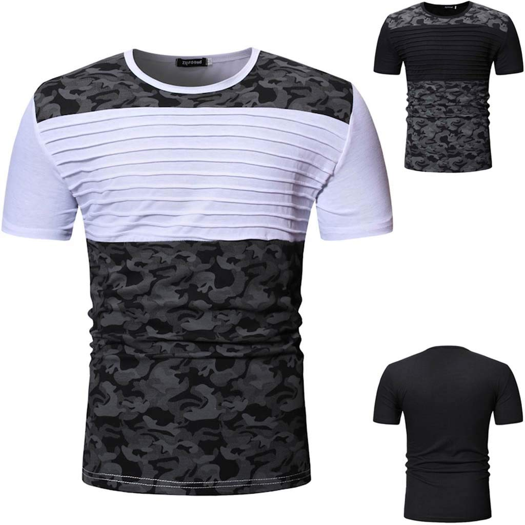 Corriee 2019 Gift Idea Mens Summer Short Sleeve Camouflage Patchwork Pleated Tops Nice Shirts