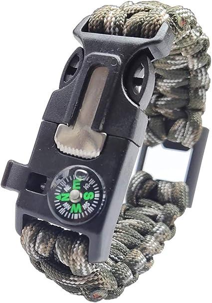 Paracord Survival Bracelet Compass Flint Fire Starter Scraper Whistle Gear 2 Pique Coton