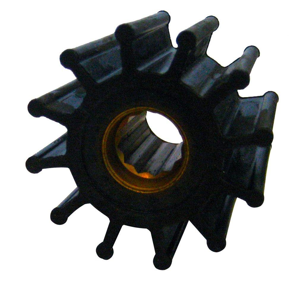 Jabsco 1210-0001-P Marine Replacement Impeller, Neoprene, K Silhouette, 1.25'' Deep, 7 Spline Drive, 5/8'' Shaft, 12 Blade, 2.25'' Diameter, Brass Insert