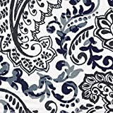 Shannon Vintage Indigo Floral Paisley Taupe Cotton Shower Curtain