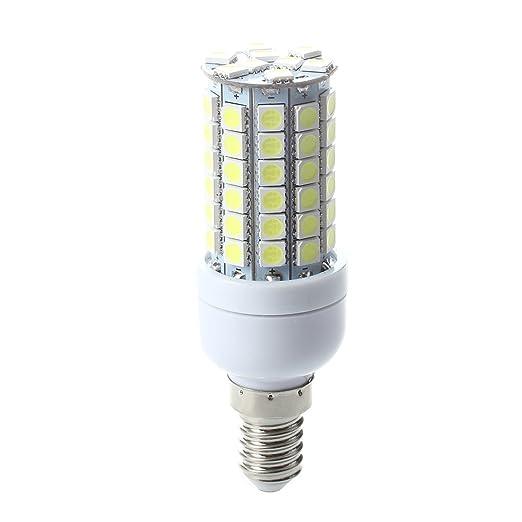 Sonline Bombilla Lampara Foco Luz Blanco E14 8W 69 LED 5050 SMD AC 220V Bajo Consumo