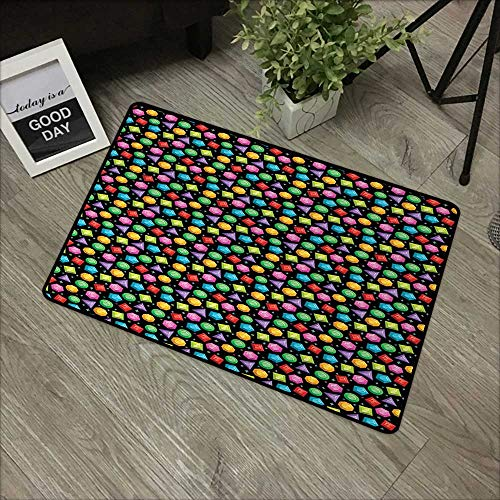 Living Room Door mat W16 x L24 INCH Diamonds,Colorful Geometric Rocks Hexagons Pentagons Triangles Pattern with Dots and Stars,Multicolor with Non-Slip Backing Door Mat Carpet