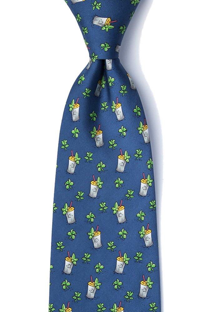 Men's 100% Silk Mint Julep Derby Tie Necktie (Blue)