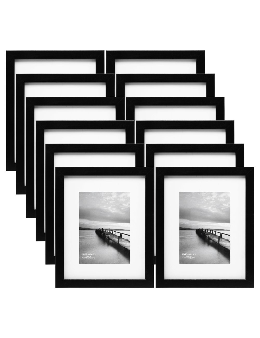 MeiC 12 Pack 8x10'' Wall Table Picture Photo Frames for 5x7 with Mat or 8x10 without Mat Black