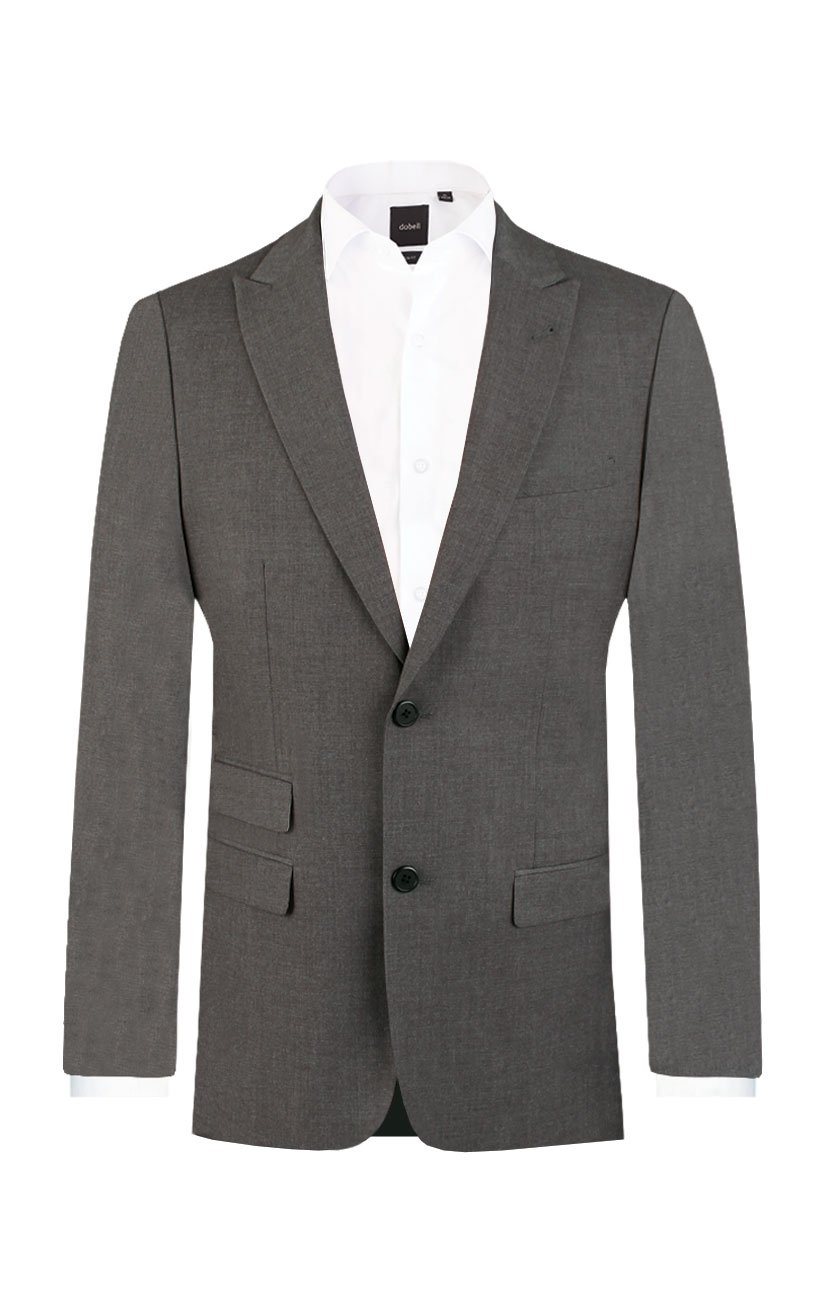 Dobell Mens Light Grey Travel/Performance Slim Fit Two Button Suit Jacket, 38R