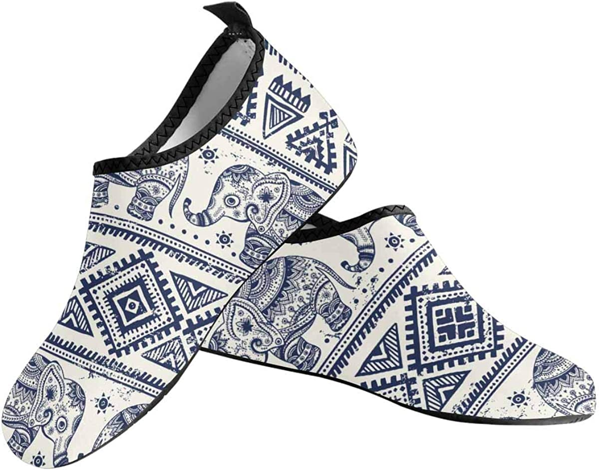 INTERESTPRINT Mens Quick Dry Barefoot Aqua Shoes Lotus Ethnic Elephant Beach Swim Shoes Barefoot Pool Water Socks Shoes
