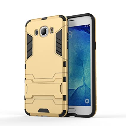 new product 233f6 3f069 Chevron Back Cover Case for Samsung Galaxy J7-6 (New 2016 Edition) (Gold)  [Military Grade Version 2.0 with Kick Stand Hybrid Back Cover Case]