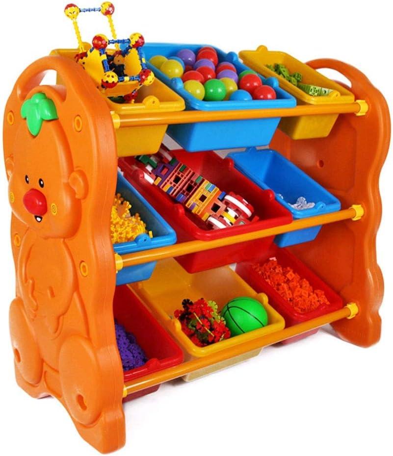子供用おもちゃ収納ラック 子供のための大箱が付いている子供3層のおもちゃの貯蔵のオルガナイザーの貯蔵のオルガナイザー おもちゃ箱 ラック (Color : Orange, Size : 79*95*45CM)