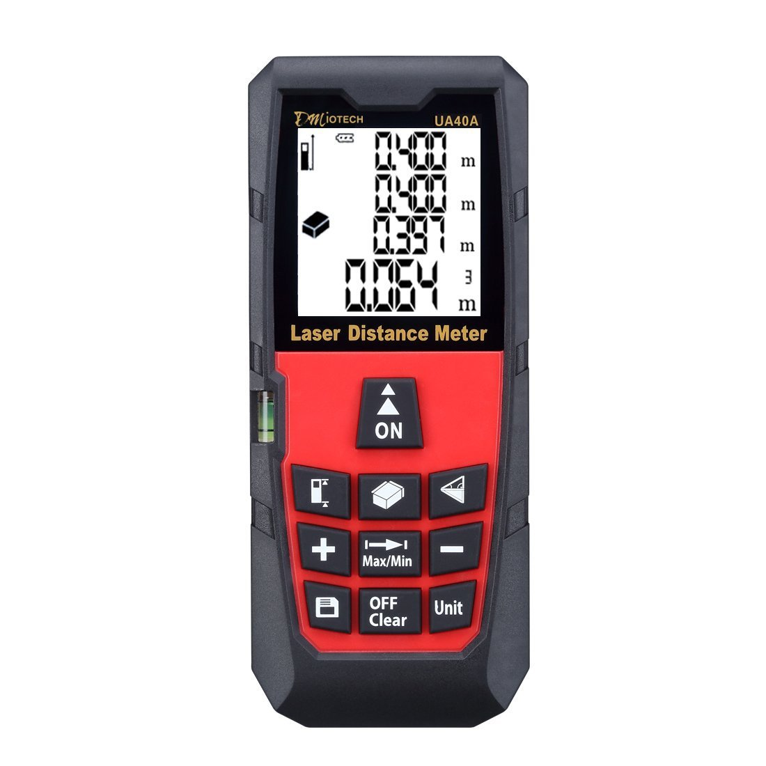 DAXGD Tel/émetro l/áser digital port/átil 40m con nivel de burbuja /área y volumen Rango de medici/ón de alta precisi/ón y gran pantalla LCD retroiluminada para medir distancia