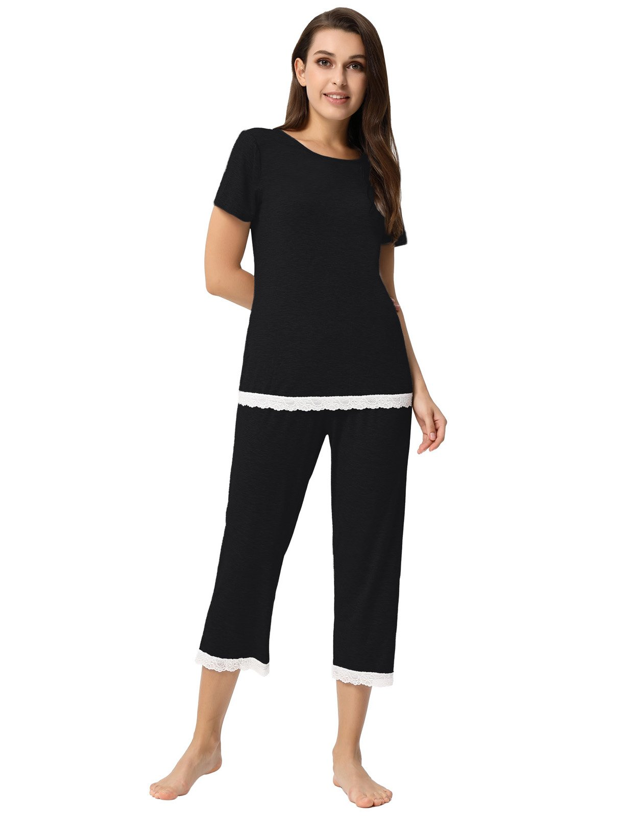 Women Pajama Short Set Solid Tops with Pants Cotton Nightwear Black Size L