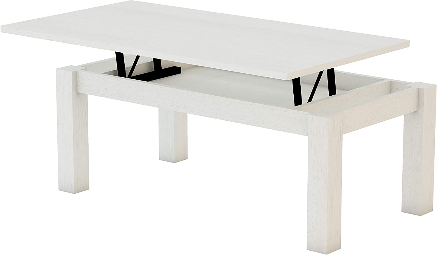 KR Decor MZ444 Mesa de Centro elevable Rectangular, Roble, Blanco ...