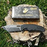 New US Marine Corp Elite Tactical Folding Eco'Gift LIMITED EDITION Knife with Sharp Blade Stone Wash Finish Blade G10 Handle