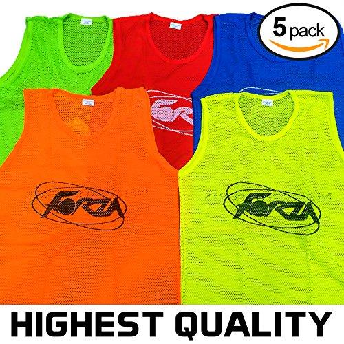 Trainings Netzwesten, 5er Pack, in vier Größen und 5 Farben [Net World Sports] (leuchtendes Grün, Kinder)