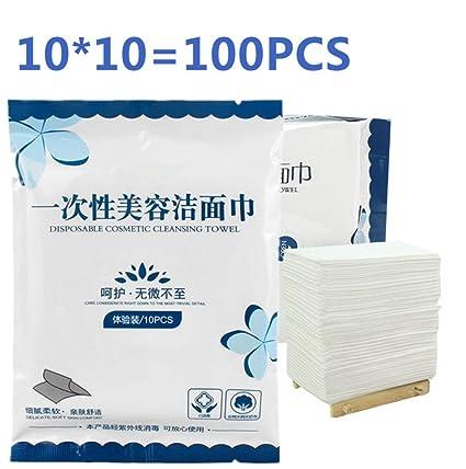 Tikwisdom 10 bolsas de 100 hojas de toalla desechable para lavado de rostro algodón almohadillas cosméticos