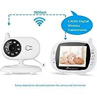 """LESHP Wireless Baby Monitor, Videocamera Bambini 3.5"""" LCD, Visione Notturna, Monitoraggio Temperatura, Audio Bidirezionale, Canzoni di Culla, 2.4 GHz, per Bambini Videosorveglianza Sicurezza"""