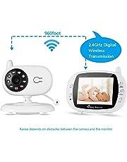 """LESHP Baby Monitor Camera, 3.2"""" LCD Baby Digital Audio Video, Gamma di Trasmissione a Lungo Raggio 2.4 GHz, Visione Notturna, Monitoraggio Temperatura, Audio Bidirezionale, Canzoni di Culla"""