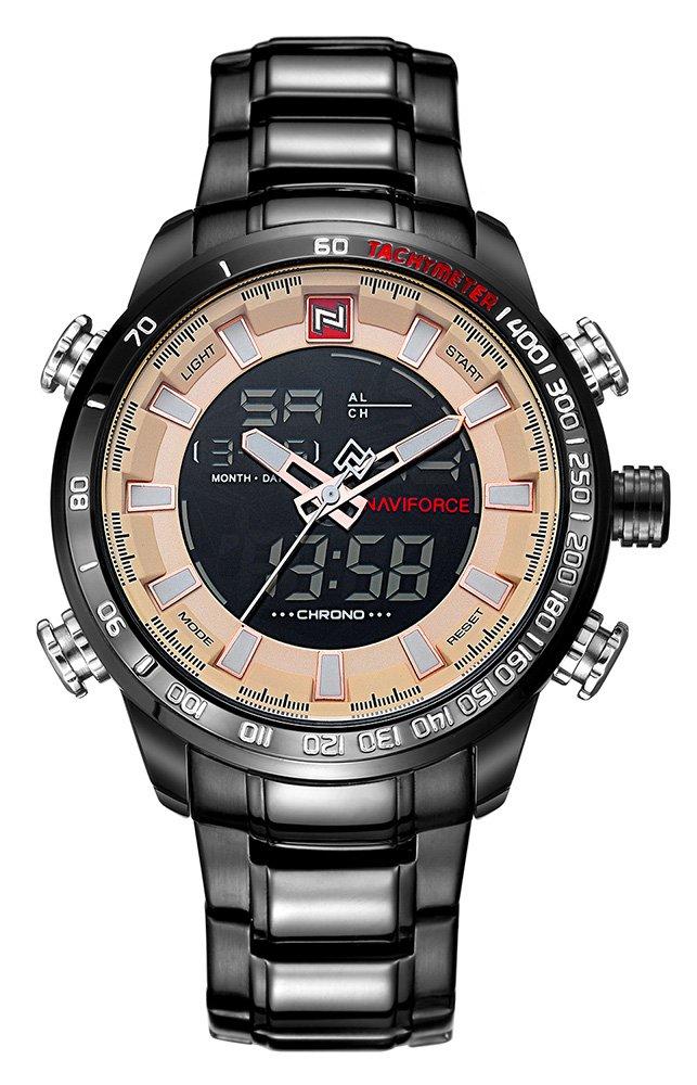 Luxury sportsステンレススチールメンズデュアル表示LEDデジタル日付防水多機能クォーツ時計 ブラックゴールド B07BRC5HVQ ブラックゴールド ブラックゴールド