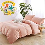 hotel bedding pink - Solid Pink Girls Duvet Cover Set Full Queen 100% Washed Cotton Duvet Cover Set for Kids Adults Hotel Quality Luxury Bedding Set 1 Duvet Cover with 2 Pillow Shams Teens Children Bedding Cover Set