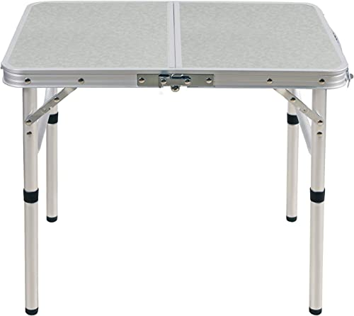 CAMPMOON Folding Camping Table 2 3 4 Foot, Lightweight Portable Aluminum Folding Table with Adjustable Legs, Great for Outdoor Cooking Picnic, White