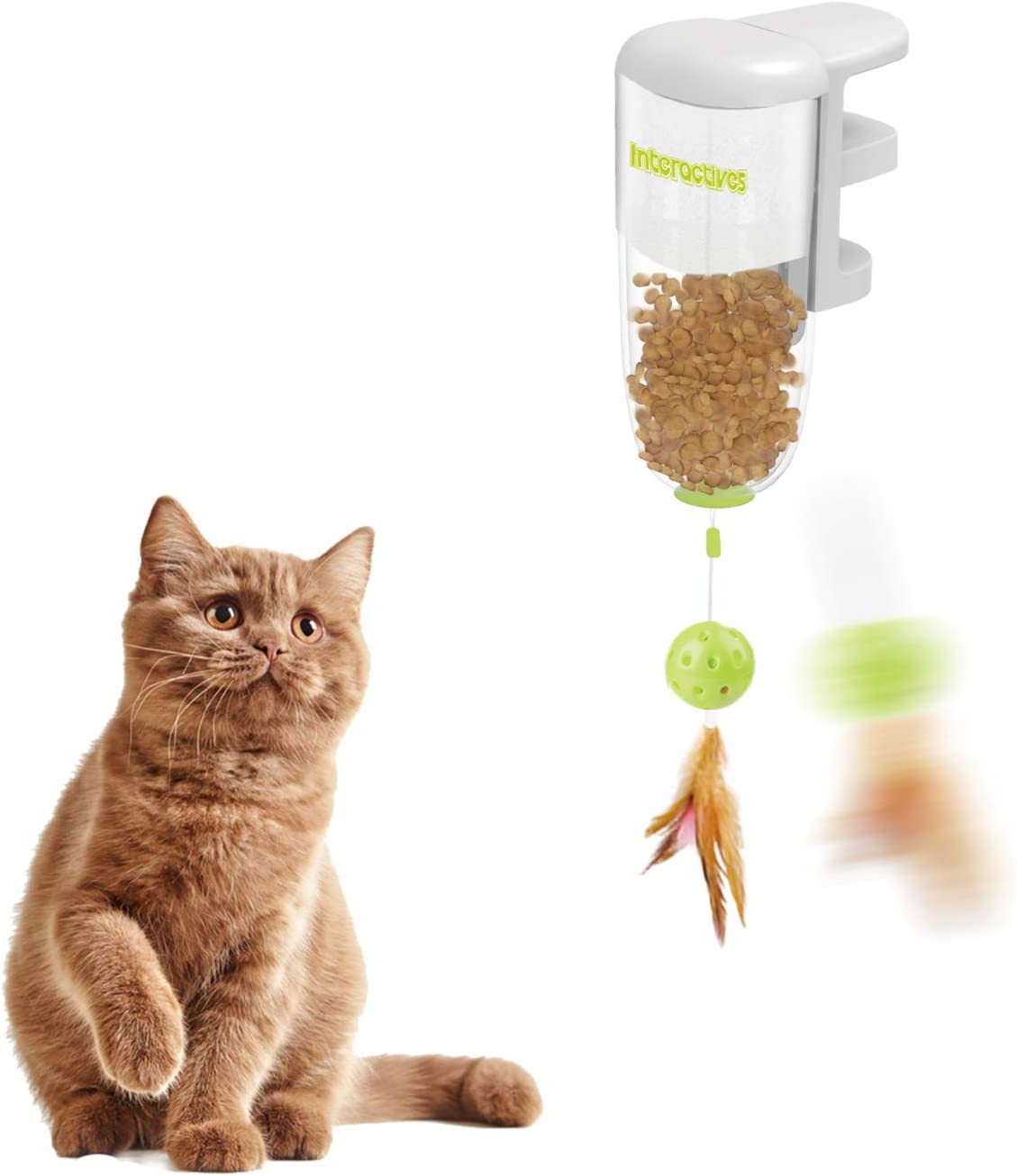 AFP Interactive Cat Treat Dispenser Kitty Slow Feeder Toys Teaser Toys Catnip Toy Cat Wand Toy Cat Fun Playing Toys Kitten Toys