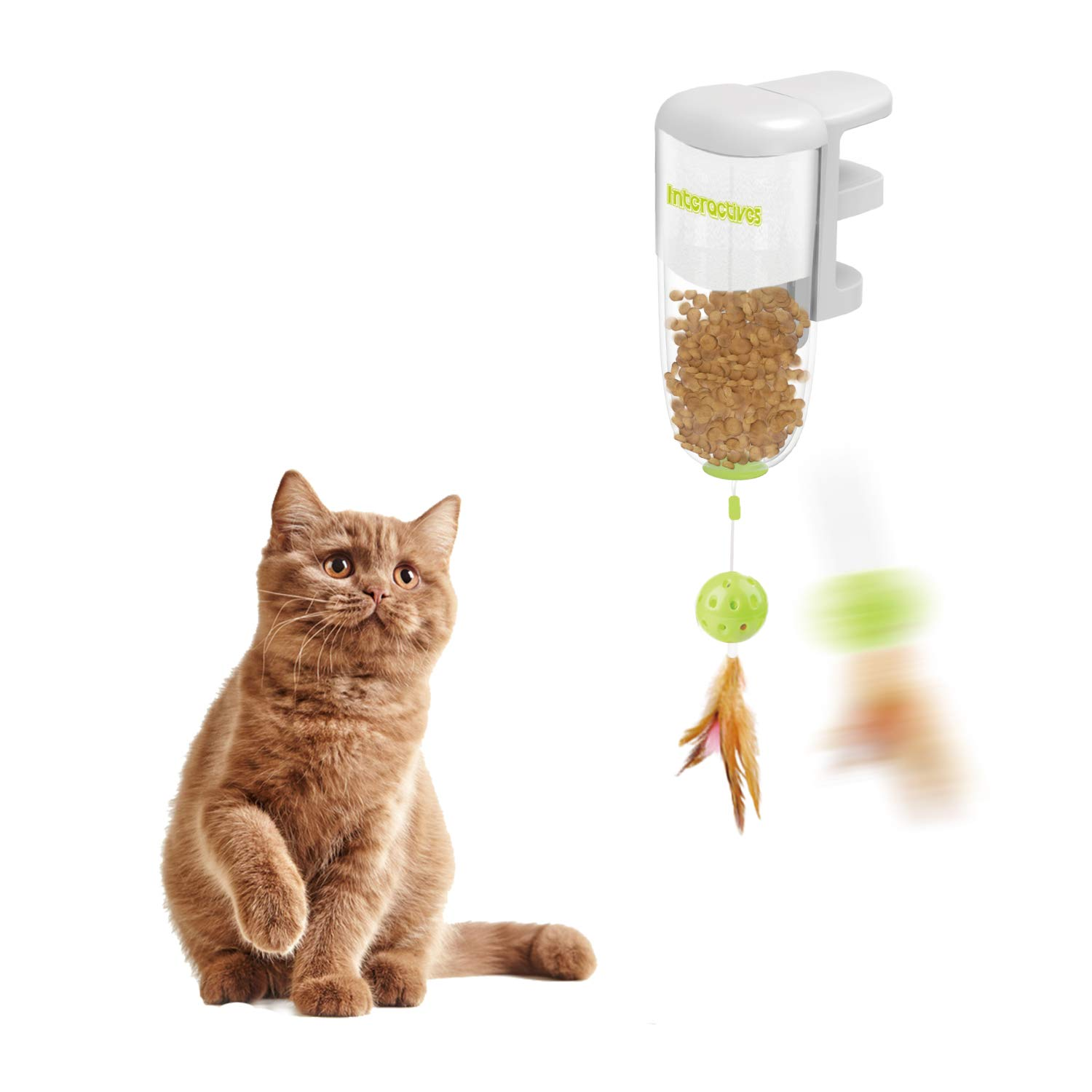 All for Paws Interactive Cat Feather Ball Treat Toy, Cat Food Dispenser Toy