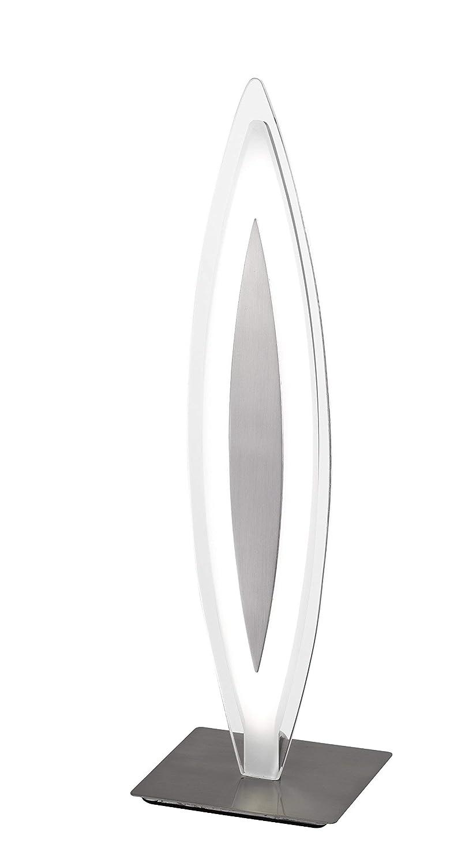 WOFI Tischleuchte, 1-flammig, Serie Avignon, 1 x LED, 12 W, Breite 11 cm, Höhe 37.6 cm, Tiefe 11 cm, Kelvin 3000, Lumen 700, nickel matt 8275.01.64.0000