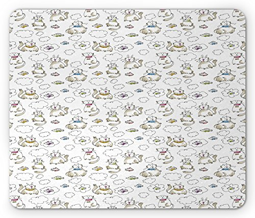 (Lunarable Sketch Mouse Pad, Chubby Kitties Above the Puffy Clouds Dreaming of Fish Domestic Pets Craving Food, Standard Size Rectangle Non-Slip Rubber Mousepad, Multicolor)