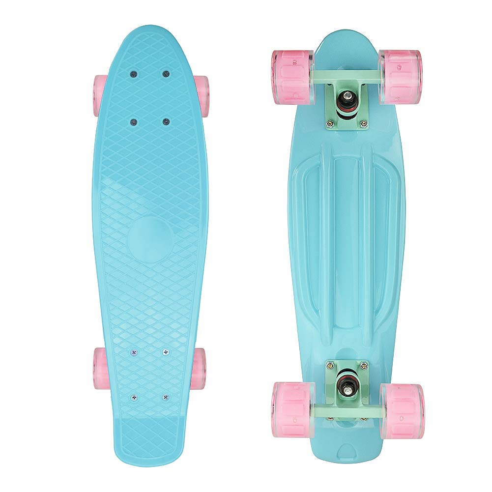 Complete 22'' Cruiser Skateboards for Beginners - Kids Skateboard with Sturdy Deck Plastic Banana Board with Colorful LED Wheels for School and Travel