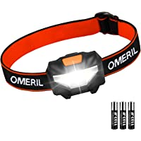 OMERIL LED Head Torch, Lightweight COB Headlamp with 3 Modes, IPX4 Waterproof, Super Bright 150 Lumens LED Headlight for Kids&Adults, Running, Fishing, Camping, Hiking, DIY[3*AAA Batteries Included]