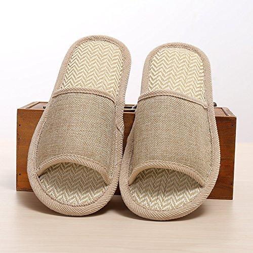 Y-Hui biancheria pantofole, il lino naturale, colore puro non ricamato pantofole comode pantofole biancheria,39/40,caffè