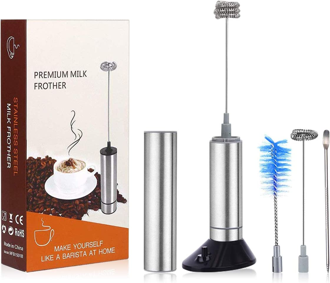 Milk Frother Handheld Battery Operated, Portable Travel Frothers Hand Mixer Blender Egg Beater Drink Mixer Foamer Maker Mini Coffee Accessories For Latte Cappuccino Matcha Hot Chocolate with 2 Stainless Steel Whisks with Clean Brush with Coffee Art Pen