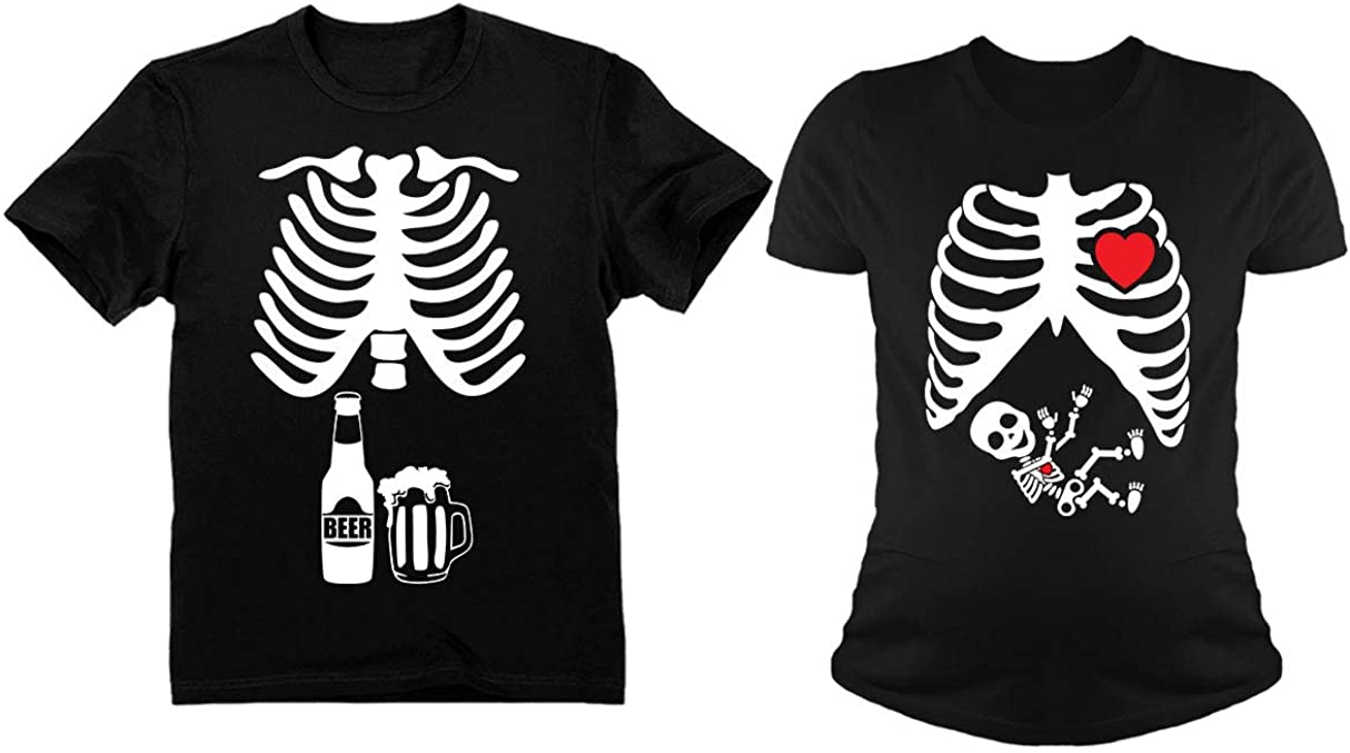 Halloween Skeleton Maternity Shirt Baby Boy X-Ray Matching Couples Set Beer Tee