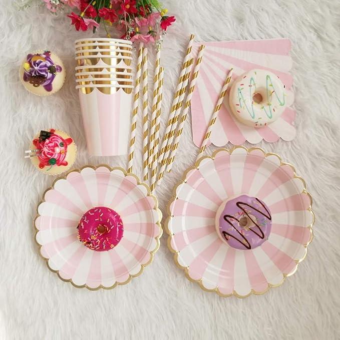 YUIP Pink Princess Crown themenorientierte Geschirr,Partygeschirrset-60-Teilig,Biologisch Abbaubare Partydekorationen,Geburtstagsfeier Party Dress-up Arrangement Propdekorationen,f/ür M/ädchen,6 Leute