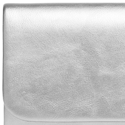 Silver Clutch Baguette CASPAR Elegant Ladies TA404 Bag Style Evening qPWw8FB