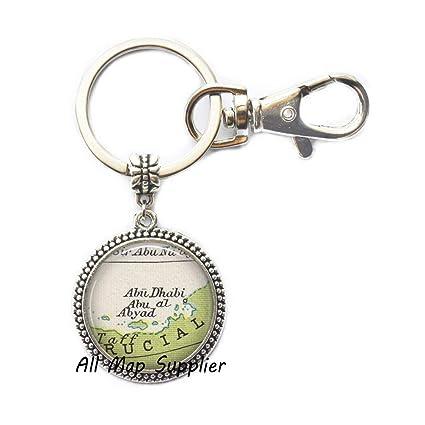 Amazon com: AllMapsupplier Charming Keychain Abu Dubai map