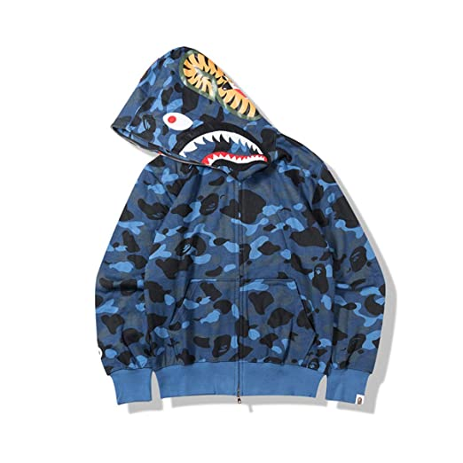1b491b9f1f01 Amazon.com  Men s A Bathing Ape BAPE Shark Head Thin Coat Full Zipper  Camouflage Jacket Hoodie  Clothing