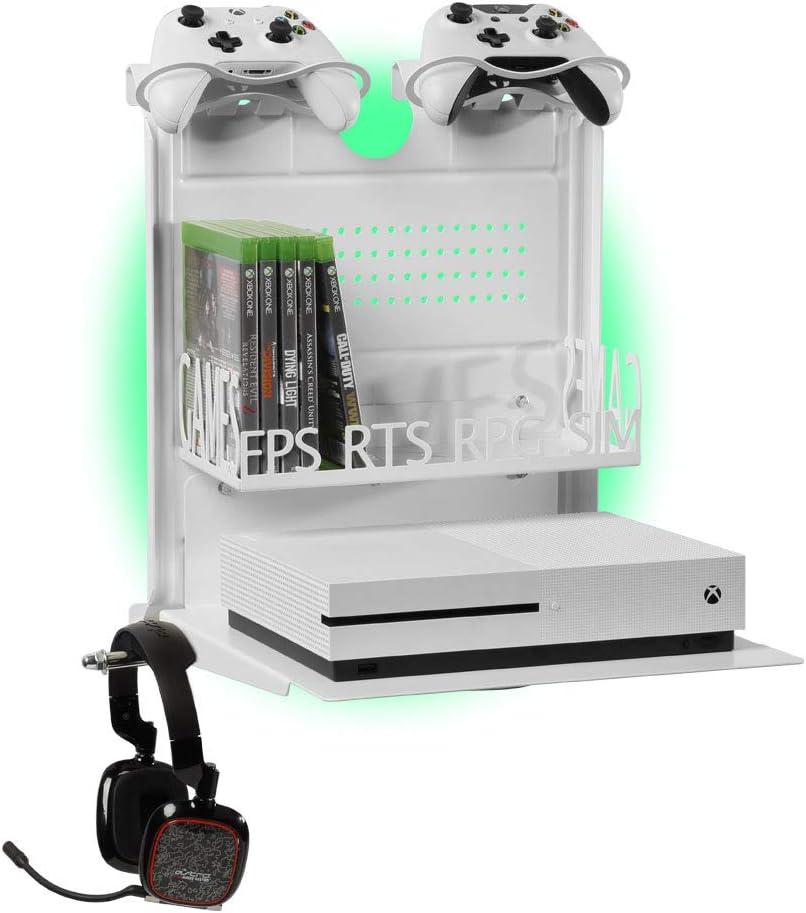 GameSide Bundle Big Daddy - Soporte de pared horizontal con ventilador, USB led lights strip para PS4, Slim y Pro, PS3, Xbox One X, Xbox One S, Xbox 360 | Espacio 16