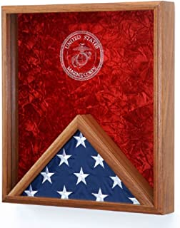 product image for All American Gifts Military Flag and Medal Display Case, for 3x5 Flag- Shadow Box Wall mountable - w/Laser Engraved Emblem (USMC EGA Engraved Emblem)