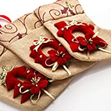 """SANNO 7.5"""" Burlap Christmas Stockings Hanging Craft Socks Party Decorations Gift/Treat Bags for Kids, 3 Pcs"""