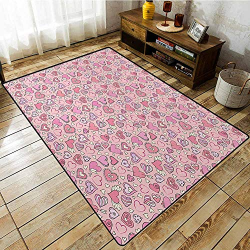 (Rectangular Rug,Love Romantic Cute Doodle Style Pattern Winged Striped Hearts Arrows Abstract,Extra Large Rug,5'6