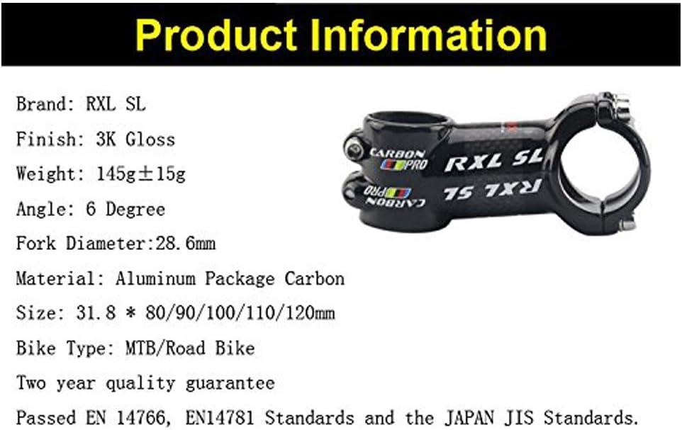 RXL SL Potence en Aluminium et Carbone de Velo VTT Route 31.8mm 6 Degre Noir
