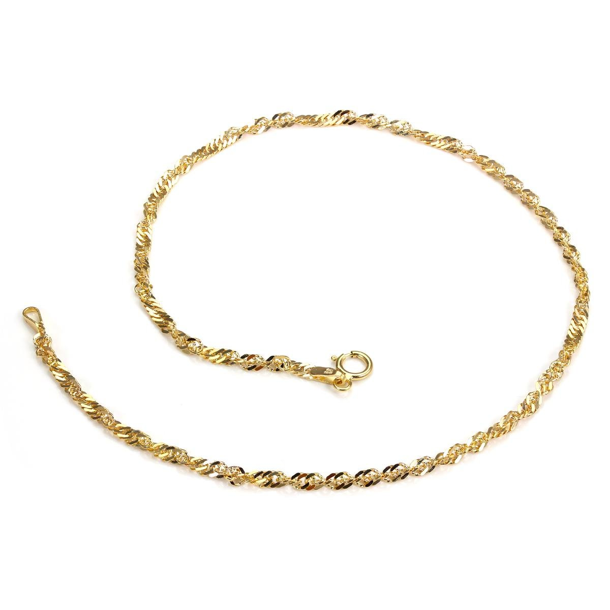 9ct Yellow Gold Singapore Chain Anklet JewelleryBox HJ-050