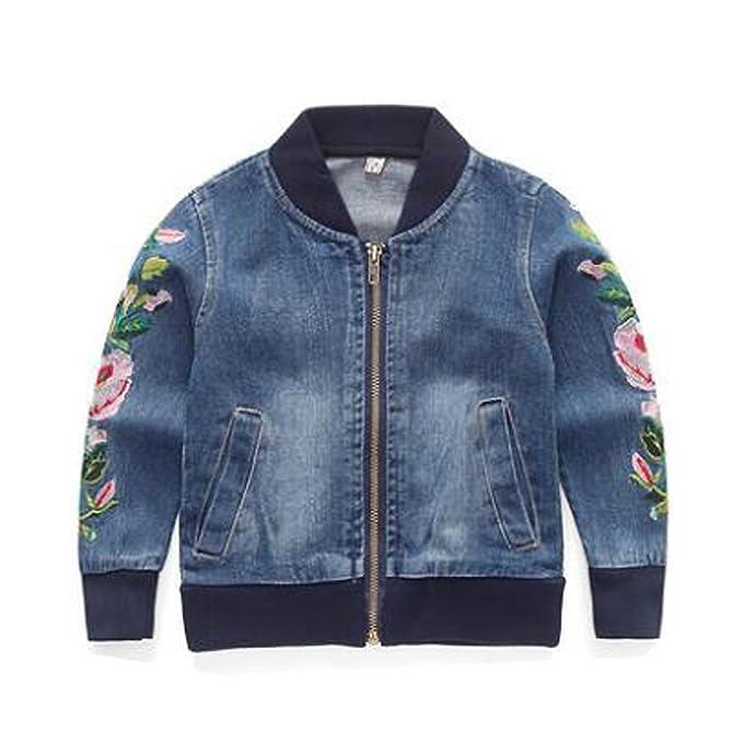 025ed3e9d10d Kids Baby Girls Floral Embroidered Denim Jacket Zipper Baseball Jeans Coats