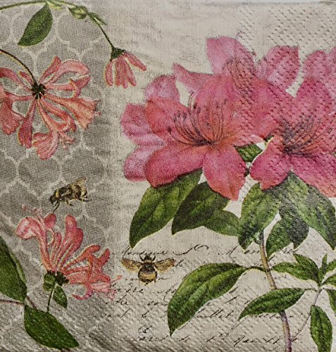 Cypress Home Floral Bees Cocktail Beverage Paper Napkins, 40-ct