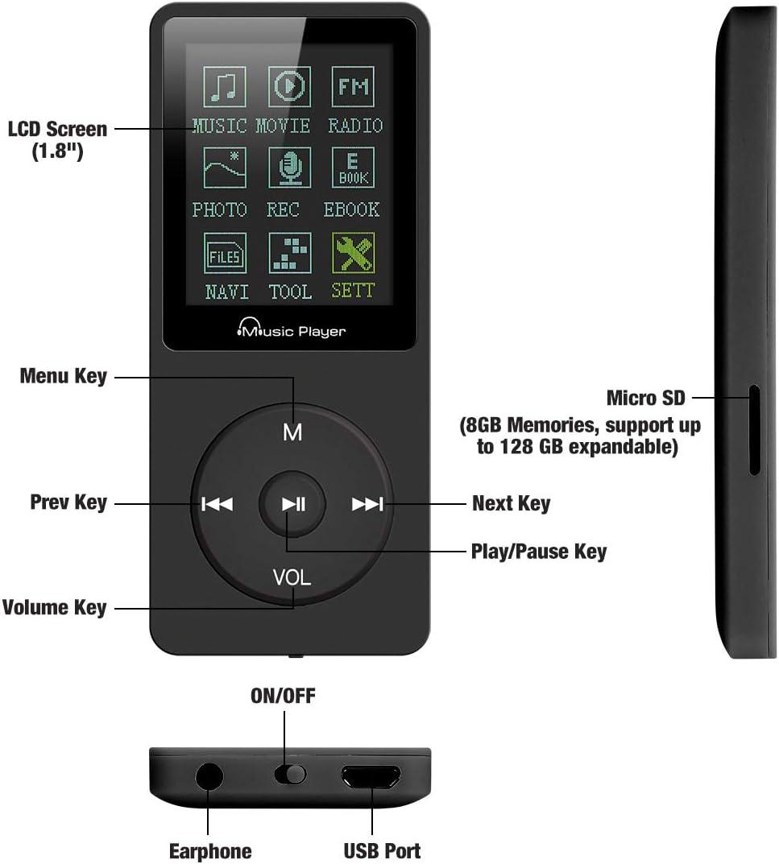Lychee MP3-Player 70 Stunden Musikwiedergabe MP3 verlustfreier Sound Entry Hi-Fi 8 GB Musik MP4 Player unterst/ützt bis zu 64 GB Schwarz