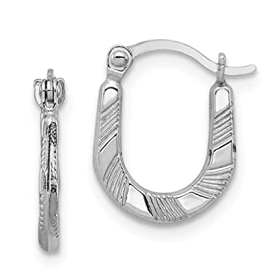 39e2f3d09 Image Unavailable. Image not available for. Color: 925 Sterling Silver  Scalloped Hoop ...