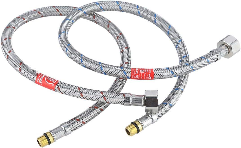 Arcoa - Grifo de manguera de conexión G3/8 x M10 x 50 cm, flexible de acero inoxidable para agua caliente y fría